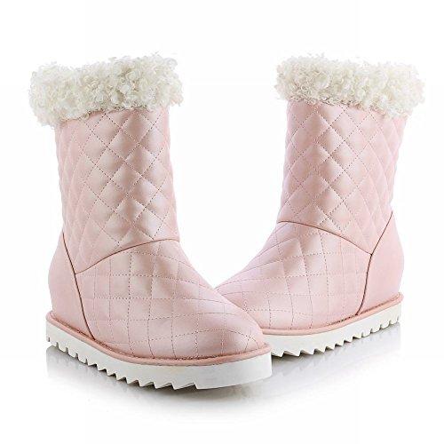 Carolbar Womens Sweet Fashion Cute Christmas Gift Lovely Winter Verborgen Hak Snowboots Roze