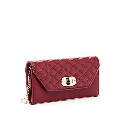 Burgundy Wallet Clutch For Women Quilted Purse Leather Crossover Purses and Handbags Over the Shoulder Chain Strap Crossbody Passport Pouch Wine Red Designer Money Check Holder Bag Fits iPhone 8 Plus by SUSU