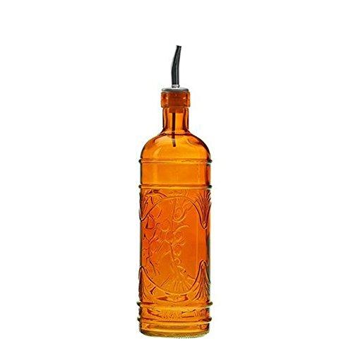 (Couronne Company 16.1oz Olive Leaf Multi-Purpose Kitchen Olive Oil, Liquid Hand, Dish Soap Decorative Glass Bottle Dispenser Designer Glass Bottle with a Bonus Stainless Steel Spout)