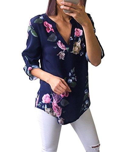 Femmes Shirts Hauts et Irrgulier Casual Printemps Tops Col OUFour Ajustable Manches Automne Chemisiers Bleu V Imprime Longues Tee Chemises Blouse xgAwUt