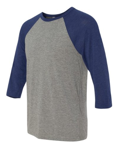 Canvas C3200 Unisex 3 By 4-Sleeve Baseball Tee - Grey & Navy Triblend, (Days Iii Canvas)