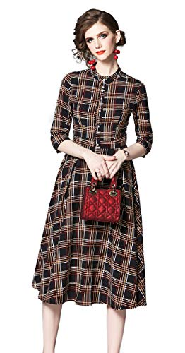 Shineflow Women's Vintage Floral Printed Lotus Sleeves Elastic Waist Pleated Swing Cocktail Party Midi Dress (Brown Plaid, S)]()