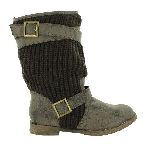 Footwear Sensation - botas efecto arrugado mujer marrón - marrón
