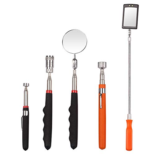 5 Pieces Telescoping Magnetic Pick-Up Tool,including 10 lb/ 8 lb/ 5 lb Pick-Up Rod and Round/Square Inspection Mirror Set,Telescoping Handle 360 Swivel with LED Light for Extra Viewing Pickup Dead ()