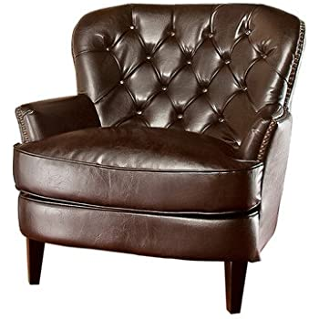 Ordinaire Best Selling Tufted Brown Leather Club Chair