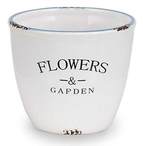 Napco Ceramic White Flowers and Garden Cache Pot, 6
