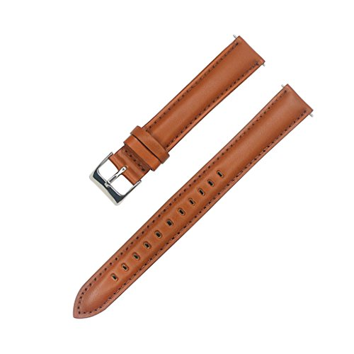 YQI Extra Long Light Brown Genuine Leather Watchband,Great Replacement Strap for Big Wrist (88x140mm) (18mm, Light Brown)