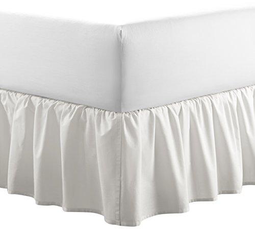 - Laura Ashley Solid Ruffled Bedskirt King White