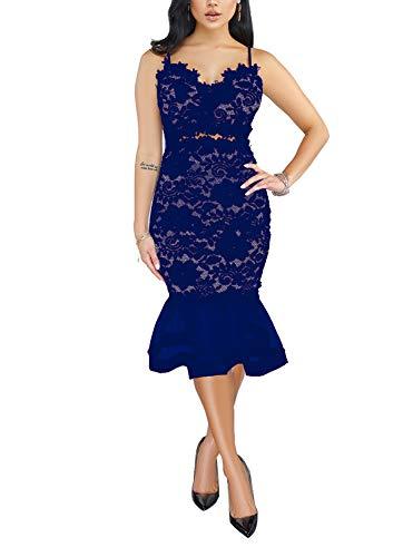 Salimdy Womens Elegant Sequin Tassel Sleeve Bodycon Cocktail Party Midi Dress Blue