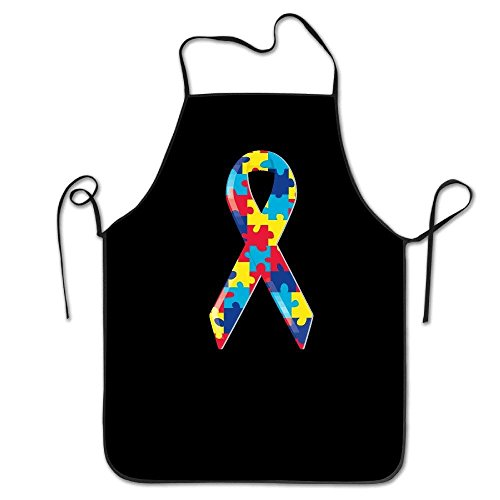 TanJieis Yahui Autism Awareness Ribbon Bib Apron with Pockets (Black 28.3 H X 27.5 W Inches) - Durable String Adjustable Machine Washable Comfortable Easy Care Adjustable Comfortable Standard Size for $<!--$13.98-->