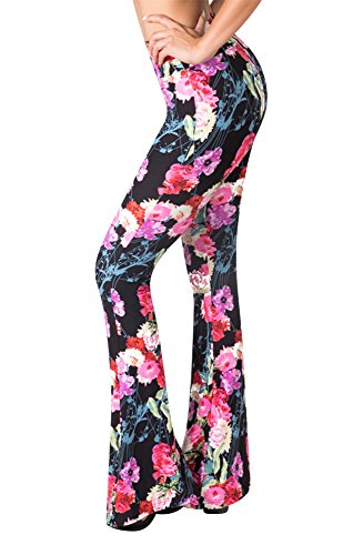 (SATINA High Waisted Flare Palazzo Wide Leg Pants | Printed & Solid | Reg & Plus (Small, Flower Bomb))