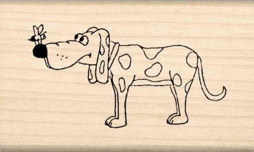 Dog with bee Rubber Stamp - 1-1/2 inches x 2-1/2 inches