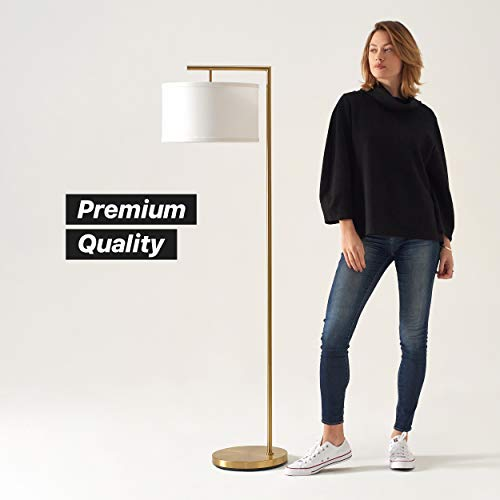 Brightech Montage Modern - Floor Lamp for Living Room Lighting - Bedroom & Nursery Standing Accent Lamp - Mid Century, 5' Tall Pole Light Overhangs Reading - with LED Bulb - Gold, Antique Brass