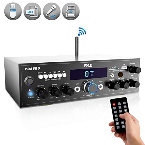 Wireless Bluetooth Power Amplifier System - 200W Dual Channel Sound Audio Stereo Receiver w/ USB, SD, AUX, MIC IN w/ Echo, Radio, LCD - For Home Theater Entertainment via RCA, Studio Use - Pyle PDA6BU (Best Compact Home Stereo System)