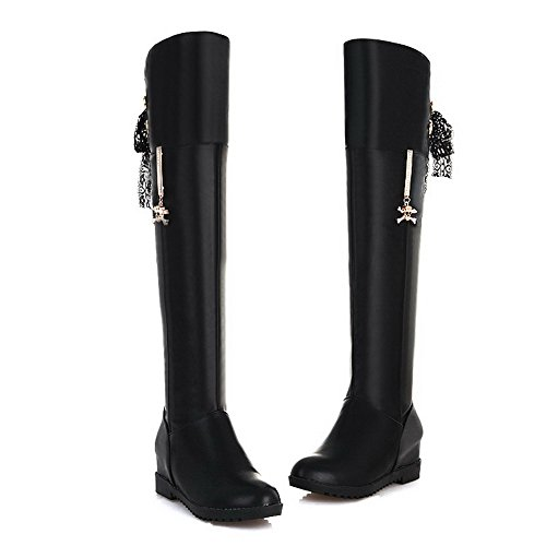 M Kitten Round with Heels Closed Material AmoonyFashion PU 4 Toe PU Solid B Black Soft Womens US 5 Inside Boots Heighten HASFSf4