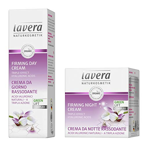 lavera Firming Cream Skin care Set: Includes Firming Day Cream & Night Cream - Anti-Aging Face Moisturizers with lifting effect - Hyaluronic Acid, Karanja Oil & Organic White Tea to reduce wrinkles