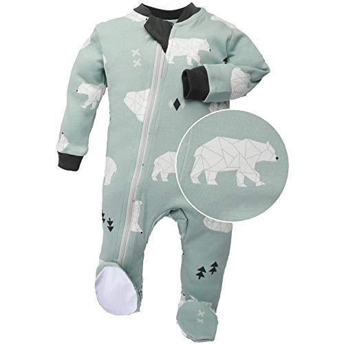 ZippyJamz Organic Baby Footed PJs w/Inseam Zipper - Be Beary Quiet (12-18 Mos)