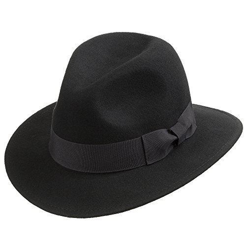 (Ultrafino drover Classic Crushable Wool Felt Outback Fedora Hat Water Repellent Black 7 5/8)