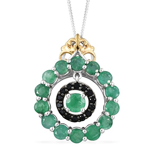 Emerald Black Spinel 14K Yellow Gold and Platinum Over Silver Dangle Pendant Necklace 2 Cttw Size 20