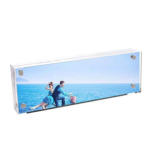 CY craft Photo Booth Frames for 2 x 6 Photo Strips,Clear Acrylic Business Desk Name Plate Magnet Frameless Photo Frame,Double Sided Desktop Photo Frames, Office Desk Bar,2x6 inch,Pack of 1 ()