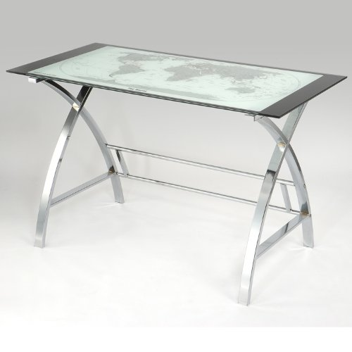 Powell World Map Printing Curved X-Sided Computer (Powell Bedroom Computer Desk)