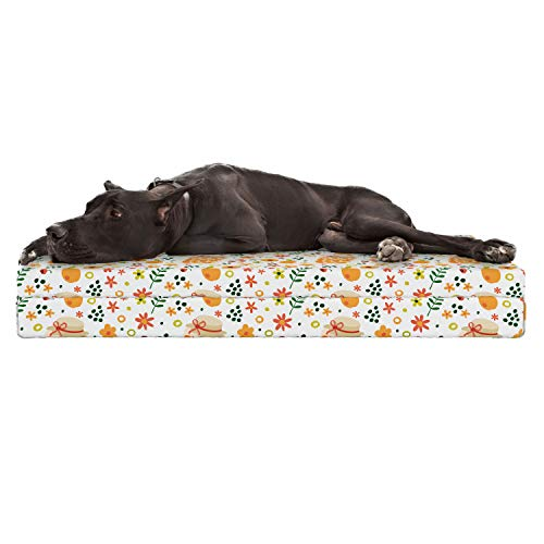 Lunarable Apricot Jam Dog Bed, Cute Repetitive Pattern with Fruit Berries Compote Jar and Botanical Elements, Durable Washable Mat with Decorative Fabric Cover, 48
