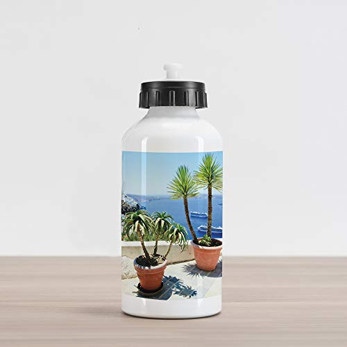 Lunarable Travel Aluminum Water Bottle, Summer Vacation in Santorini Balcony Overlooking The Old Volcano The Caldera Aegean, Aluminum Insulated Spill-Proof Travel Sports Water Bottle, Multicolor