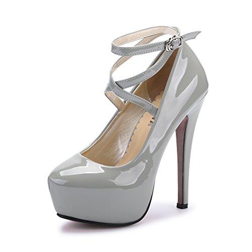OCHENTA Moda Nuevo Zapatos con tacon alto para mujer plataforma PU Gris