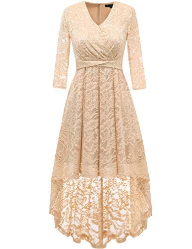 DRESSTELLS Women's Vintage Floral Lace 3/4 Sleeves Dress Hi-Lo Cocktail Party Swing Dress Champagne M