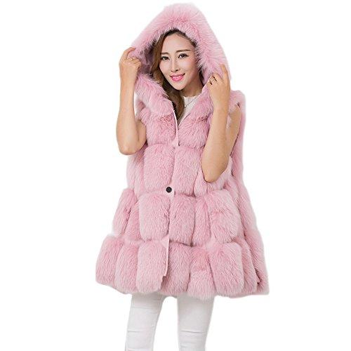e volpe da in Gilet lungo di calda Gilet pelliccia FOLOBE Outwear donna sottile Pink sintetica B7wUq1B4