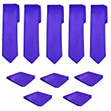 Mens Necktie Pocket Square 10 Pcs Set Solid Color Tie and Handkerchief for Wedding (Royal Blue)