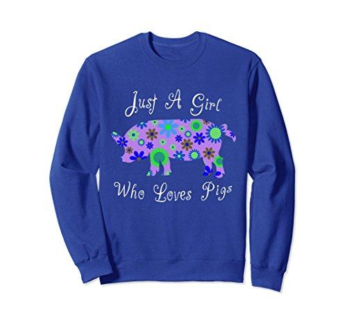 Pig Sweatshirt T-shirt - Unisex Cute Pig Sweatshirts - Floral Design For Women And Girls Small Royal Blue