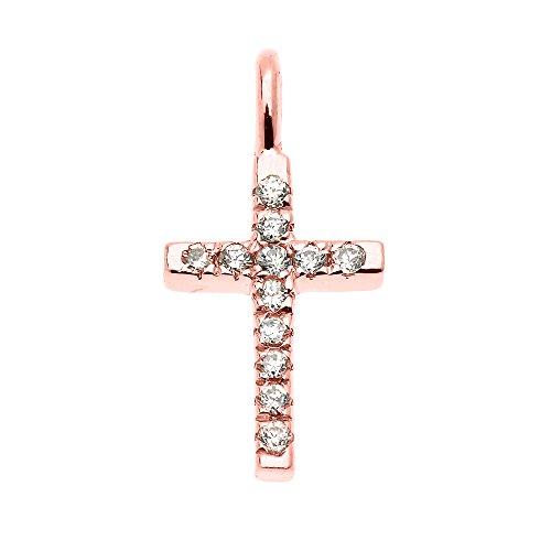 Collier Femme Pendentif 14 Ct Or Rose Diamant Croix Charme (Livré avec une 45cm Chaîne)