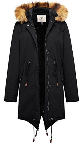 WenVen Women's Mid Length Hooded Sherpa Lined Parka Jacket(Black,Medium) Cotton Lined Parka
