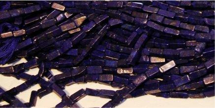 Tube Beads Lazuli Lapis (Lapis Lazuli Gemstone 3-4x7-9mm Irregular Rectangle Beads 15
