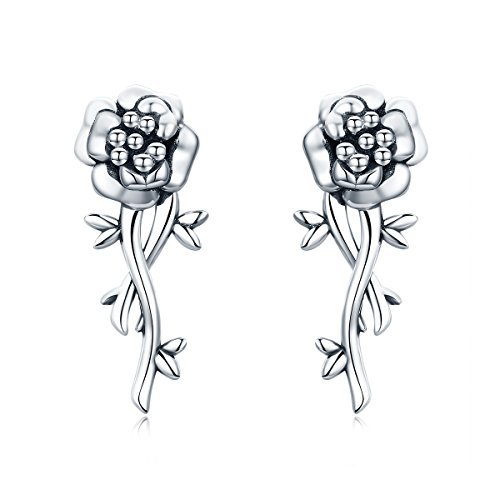 The Kiss Pomegranate Flower Romantic Love 925 Sterling Silver Stud Earrings