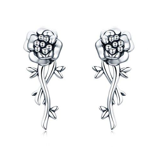 The Kiss Pomegranate Flower Romantic Love 925 Sterling Silver Stud Earrings ()