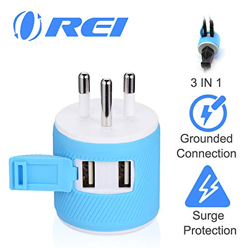 Thailand Travel Plug Adapter by Orei with Dual USB – USA Input + Surge Protection – Type O (U2U-18), Will Work with Cell…