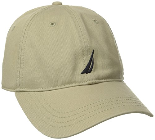 Nautica Men's Twill 6-Panel Cap, Khaki, One - Baseball Beige Logo