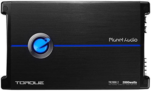 Planet Audio TR2000.2 Torque 2000 Watt, 2 Channel, 2 to 8 Ohm Stable Class A/B, Full Range, Bridgeable, MOSFET Car Amplifier with Remote Subwoofer - Planet Amp Torque Audio