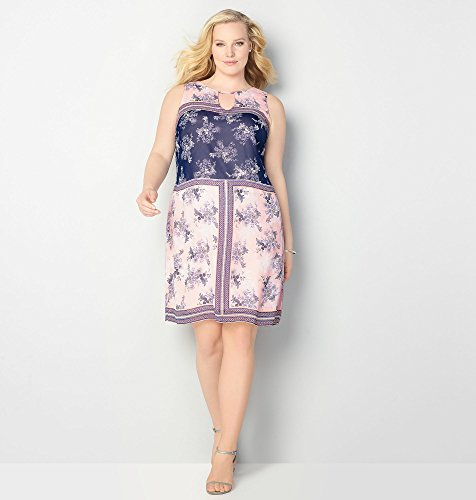AVENUE-Womens-Chiffon-Floral-Mirror-Dress