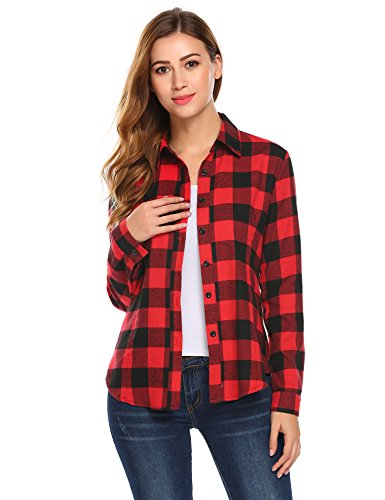 Misakia Women's Long Sleeve Casual Slim Plaid Shirt Boyfriend Button Down Shirts, Red&black, Medium