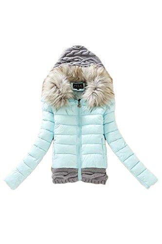 Ocasionales retazos Colorblock con capucha lana abrigo abrigos de las mujeres Blue