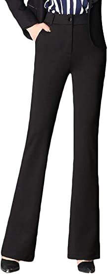 WAWAYA Women's High Rise Casual Plus Size Solid Bell-Bottom Flare Pants Slim Fit Pants Trousers