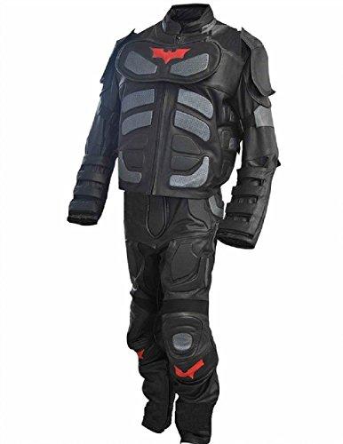 [Bestzo Men's Fashion Dark Real Leather Knight Costume Batman Suit Cow Leather Black L] (Dark Knight Costumes Real)