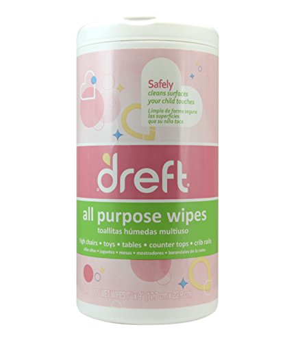 Dreft Multi-Surface All-Purpose Gentle Cleaning Wipes for Baby Toys, Car Seat, High Chair & More, 70 Count