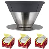 December Adjustable Coffee Dripper with Paper Filters for 2 to 4 Cups, Silver