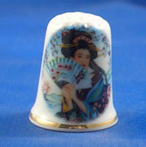 Para porcelana Coleccionable de dedal japon/és mujer con ventilador