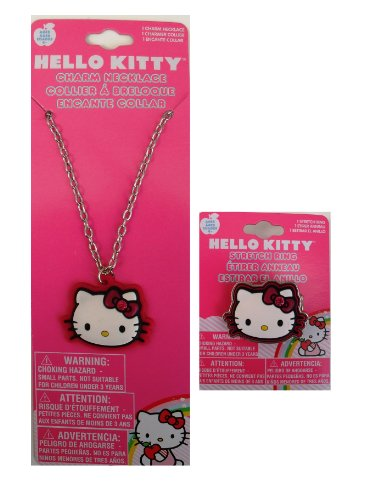 (Hello Kitty Necklace and Ring- Pink Outline Face Shape )