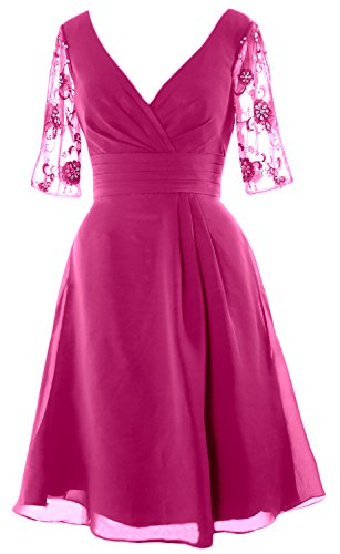 MACloth Women Half Sleeves V Neck Cocktail Dress Short Mother of the Bride Dress Begonia